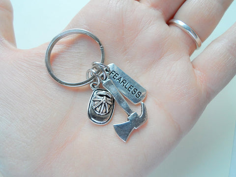 "Firefighter Keychain, Firefighter Axe and Hat Charm with a ""Fearless"" Tag"