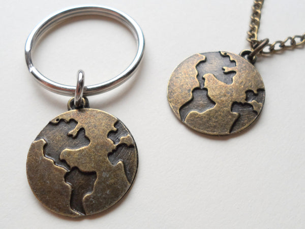 Bronze World Globe Necklace and Keychain Set