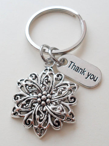 "Teacher Appreciation Gifts • ""Thank You"" Tag & Flower Charm Keychain by JewelryEveryday w/ ""Thanks for helping our school bloom!"" Card"