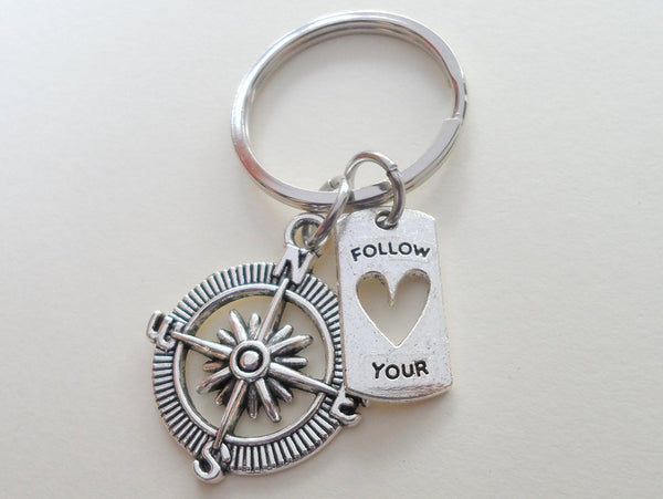 "Graduation Gift • Compass Keychain w/ ""Follow Your Heart"" Quote"