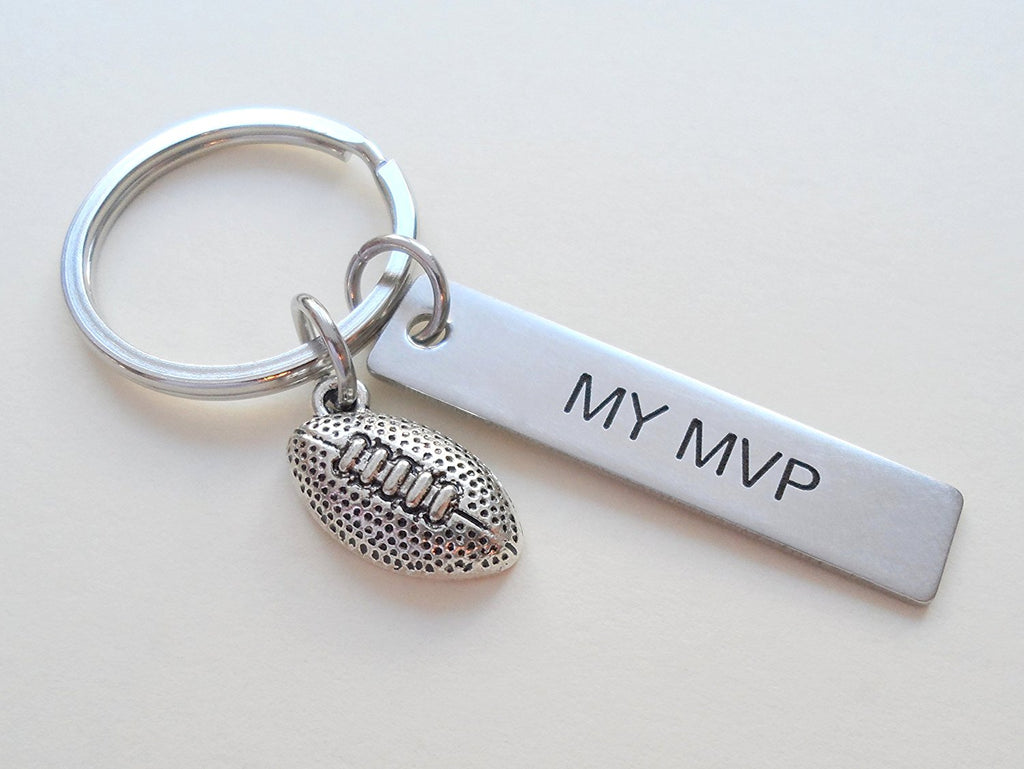"Football Ball Keychain and Steel Tag Engraved with ""My MVP"", Football Keychain Gift"