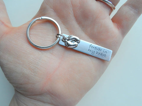 "Baby Memorial Keychain • Engraved ""Forever in my Heart"" w/ Baby Feet Chart 