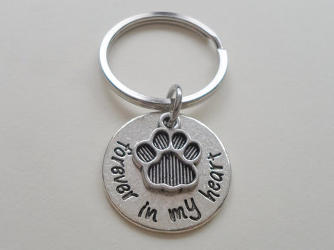 "Dog Memorial Keychain • ""Forever in my Heart"" w/ Personalization and Cute Paw Charm 