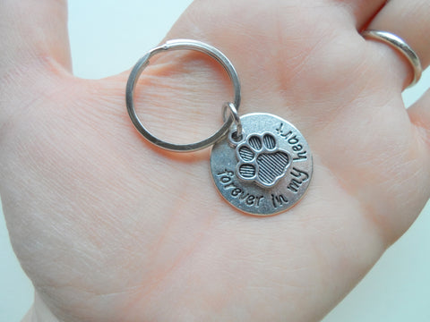 "Dog Memorial Keychain • ""Forever in my Heart"" w/ Cute Paw Charm 