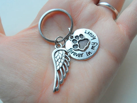 "Dog Memorial Keychain • ""Forever in my Heart"" w/ Cute Paw and Wing Charm 
