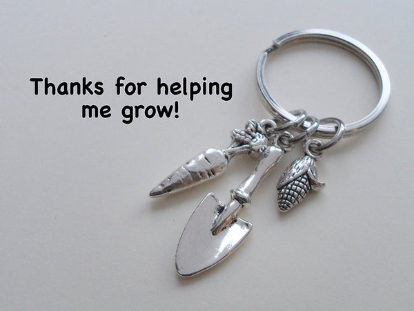 "Teacher Appreciation Gifts • ""Thanks for helping me grow!"" Shovel, Carrot, & Corn Keychain by JewelryEveryday"