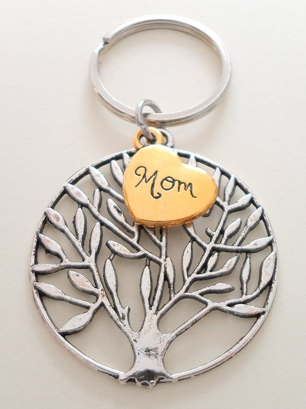 Golden Mom Heart and Tree Charm Keychain, Mom Heart of Gold Keychain