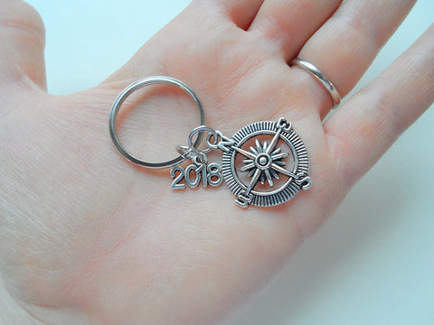 "Good Luck on the Path Ahead of You Open Metal Compass Keychain with ""2018"" Charm, Graduation Gift Keychain"