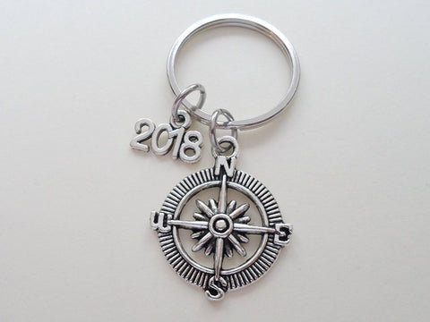 2018 Graduation Gifts • Compass Keychain with 2018 Charm & Good Luck Quote