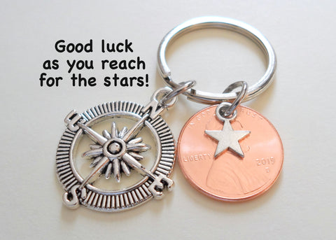 Graduate Compass Keychain, 2021 Penny & Star Charm - Good Luck as You Reach for the Stars