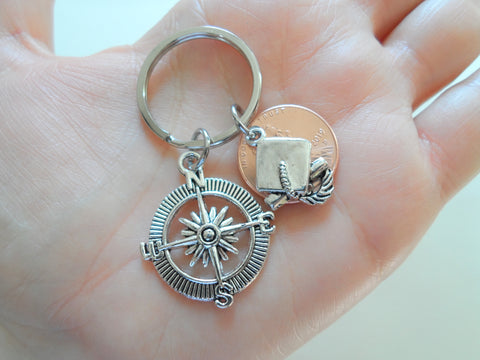 Graduate Compass Keychain, 2019 Penny & Cap Charm - Good Luck on the Path Ahead of You