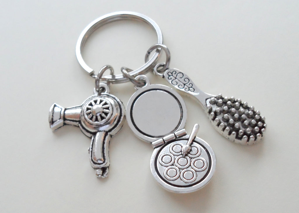 Hair Stylist & Makeup Artist Keychain w/ Brush, Hairdryer & Makeup Charms by JewelryEveryday