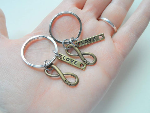 Double Bronze BFF Infinity Symbol Keychain Gift Set, Best Friends Forever- You and Me for Infinity; Couples Keychain