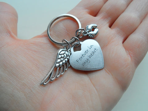 Heart Shaped Forever in My Heart Keychain with Wing and Baby Feet Charm, Baby Loss Memorial Gift