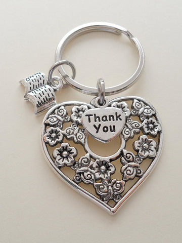Heart & Book Charm Teacher Keychain - It Takes a Big Heart to Teach Little Minds