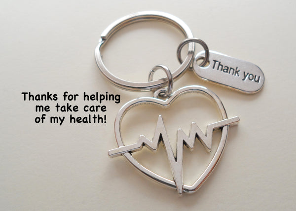 Heartbeat Medical Charm Keychain, Doctor Office Gift, Hospital Staff Gift, Thank you Gift