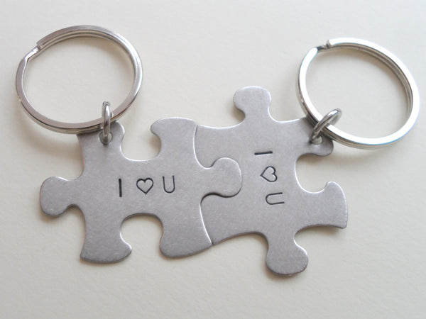 I Heart U 2 Matching Steel Puzzle Engraved Keychains