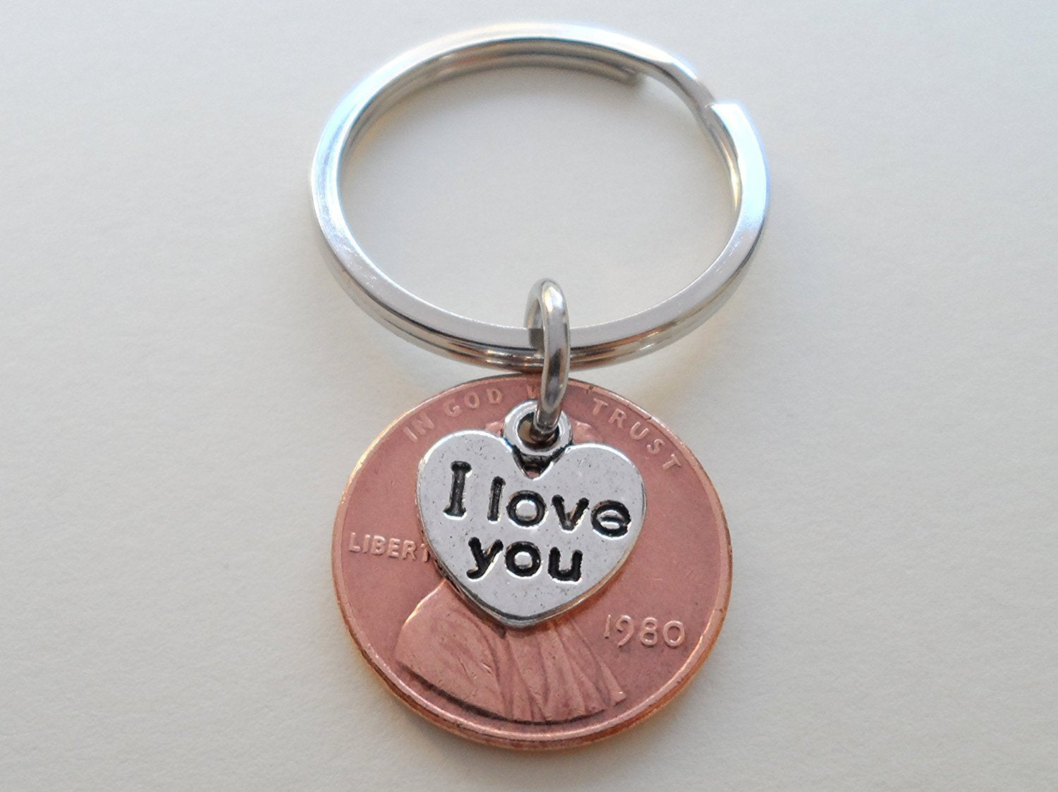 I Love You Heart Charm Layered Over 1980 Penny Keychain