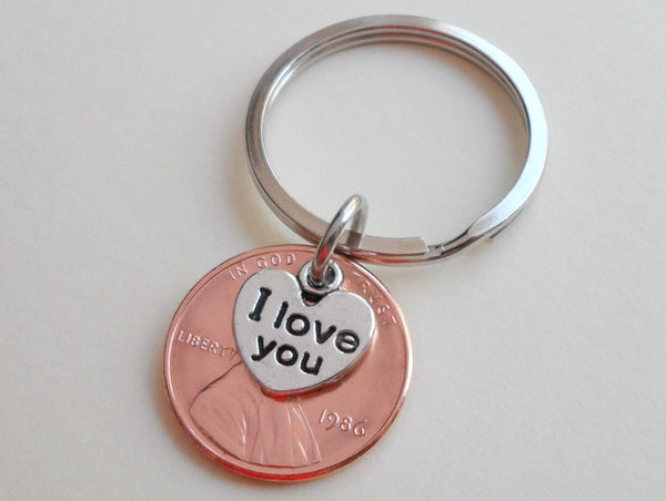I Love You Heart Charm Layered Over 1986 Penny Keychain