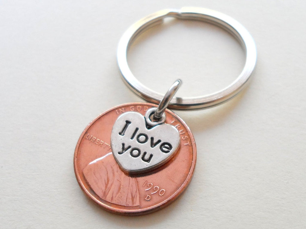 I Love You Heart Charm Layered Over 1990 Penny Keychain; 30 Year Anniversary Gift, Couples Keychain