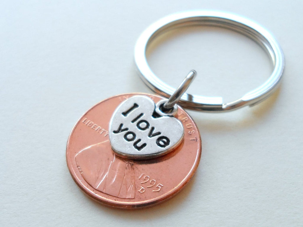 I Love You Heart Charm Layered Over 1995 Penny Keychain; 25 Year Anniversary Gift, Couples Keychain