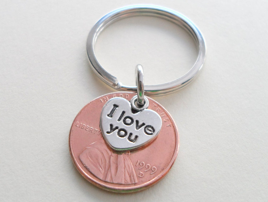 I Love You Heart Charm Layered Over 1999 Penny Keychain; 21 Year Anniversary Gift, Couples Keychain