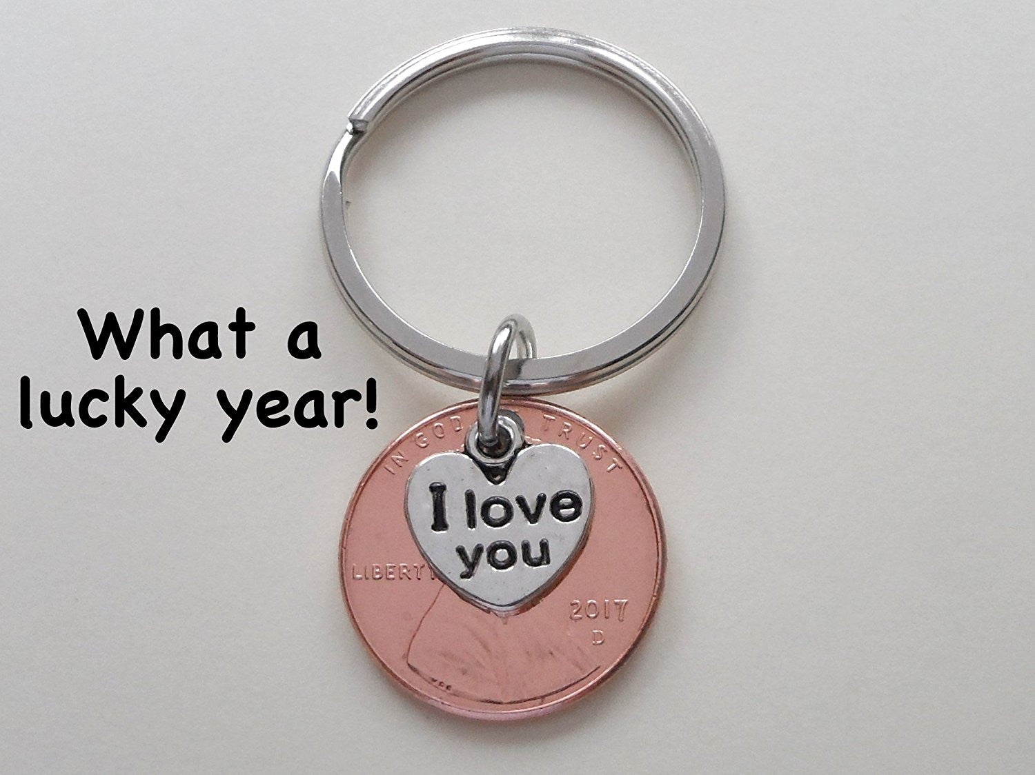 I Love You Heart Charm Layered Over 2017 Penny Keychain JewelryEveryday