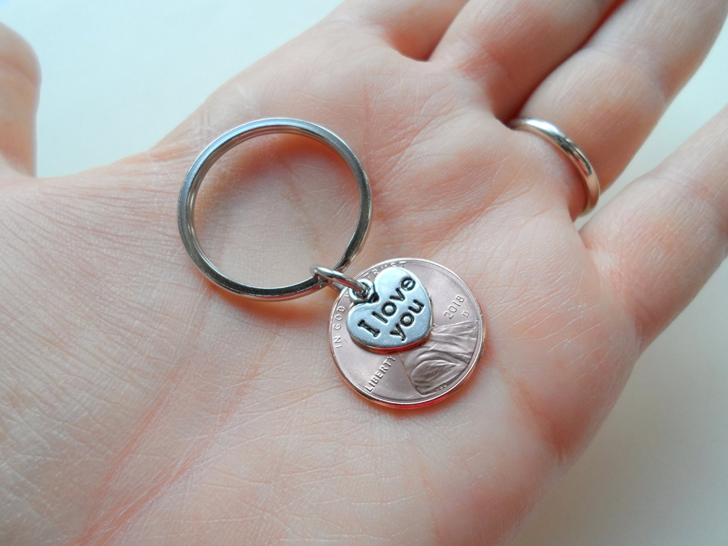 I Love You Heart Charm Layered Over 2018 Us One Cent Penny Keychain