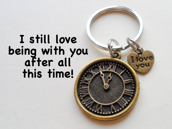 Quot I Love You Quot Heart Charm With Bronze Clock Keychain