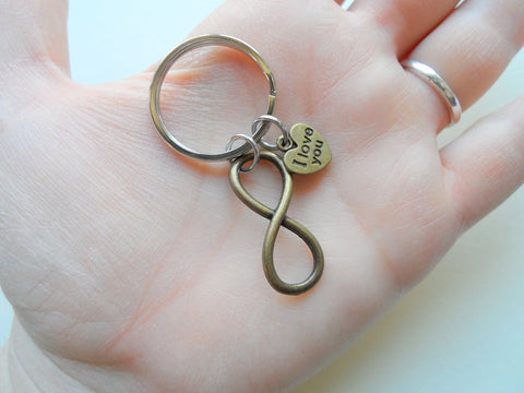 """I Love You"" Heart Charm with Bronze Infinity Symbol Keychain - You and Me for Infinity; Couples Keychain"