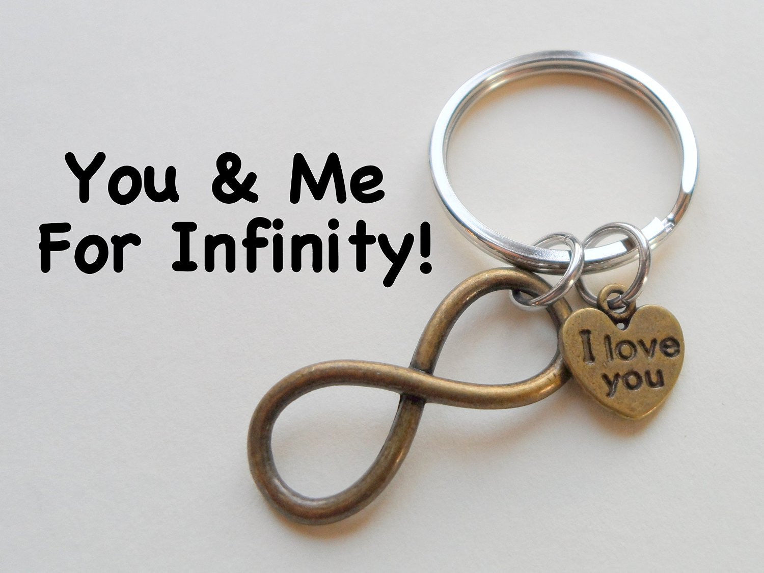 I love you heart charm with bronze infinity symbol keychain i love you heart charm with bronze infinity symbol keychain you and me buycottarizona Gallery