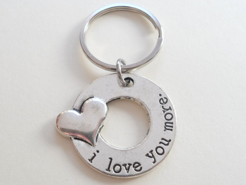 """I Love You More"" Couples Keychain"
