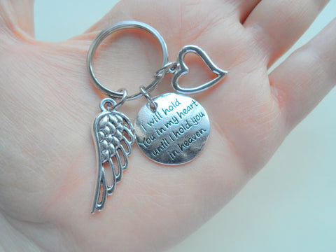 """I Will Hold You in My Heart Until I Hold You in Heaven"" Saying Keychain With Wing & Heart Charm"