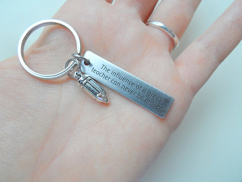 Influence of a Great Teacher, Engraved Tag and Pencil Charm - Appreciation Gift, Teacher Gift