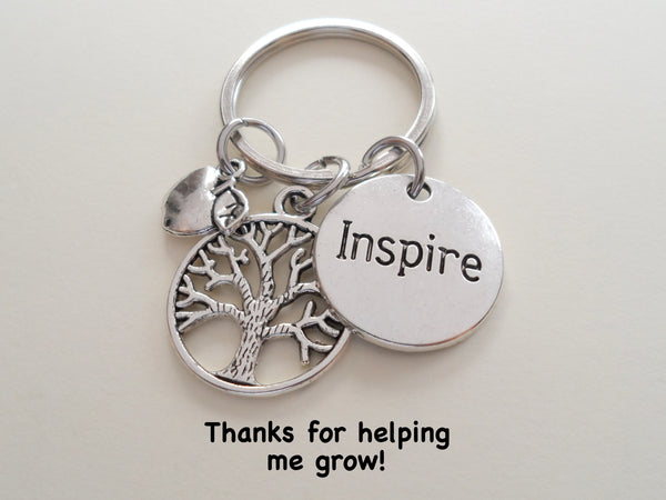 "Teacher Appreciation Gifts • ""Inspire"" Disk, Tree & Apple Charm Keychain by JewelryEveryday w/ ""Thanks for helping me grow!"" Card"
