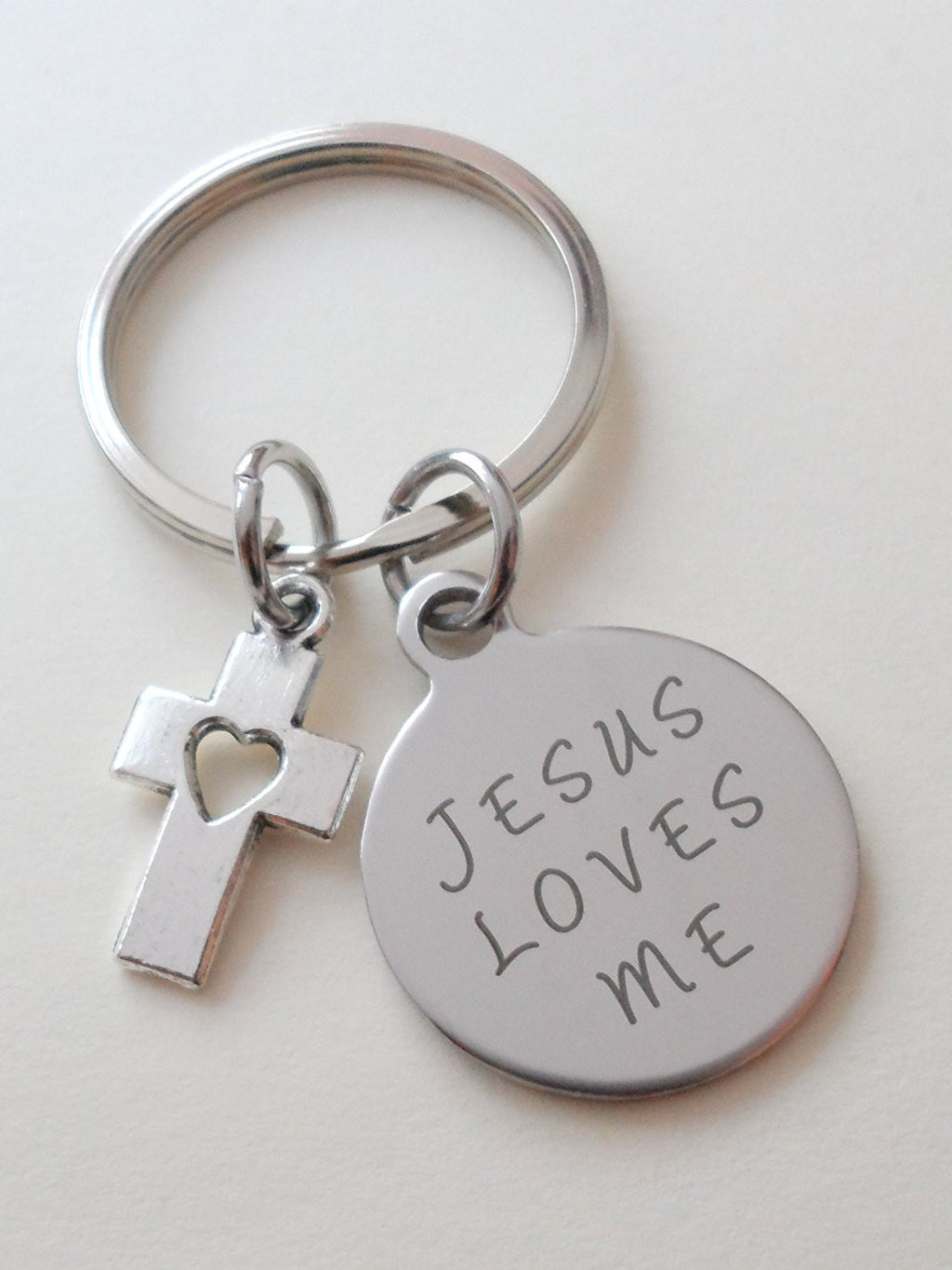 Jesus Loves Me Small Saying Disc Keychain with Small Cross Charm, Religious Keychain