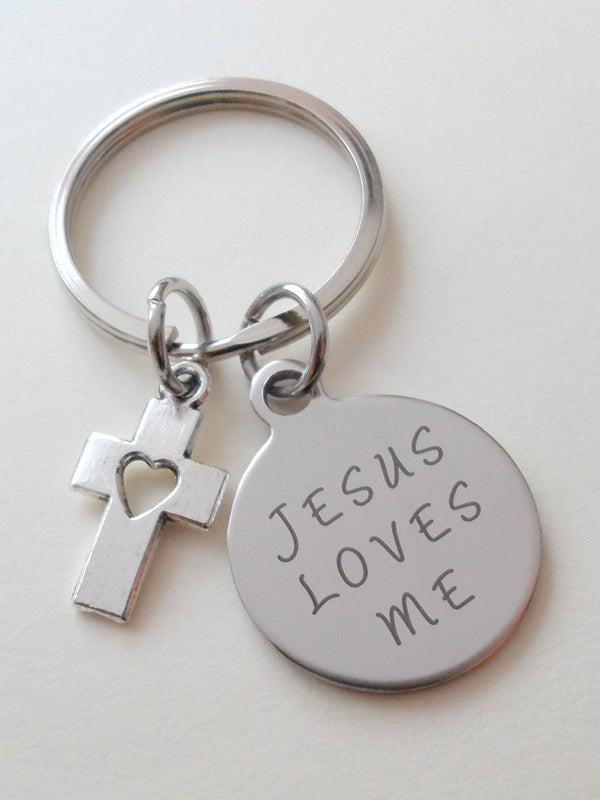 Jesus Loves MeSmall Saying Disc Keychain with Small Cross Charm, Religious Keychain