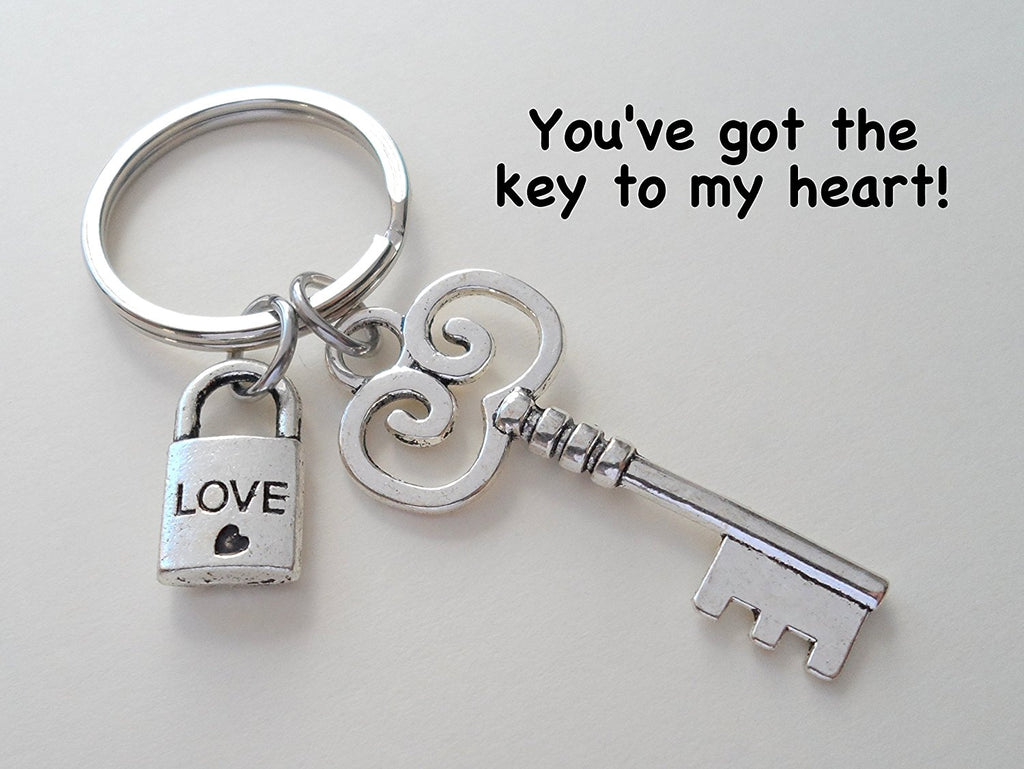 Key and Tiny Love Lock Keychain - You've Got The Key To My Heart; Couples Keychain