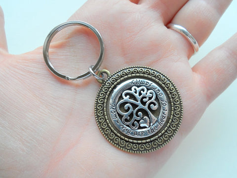 "Keychain for Mom, 2 Tone Bronze and Silver Tree Charm with saying ""Mom - You are the heart of our family"""