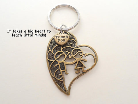 "Teacher Appreciation Gifts • ""Thank You"" Tag & Large Bronze Heart w/ Kids Keychain by JewelryEveryday w/ ""It takes a big heart to teach little minds!"" Card"