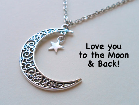 Large Crescent Moon Necklace with Hanging Star Charm