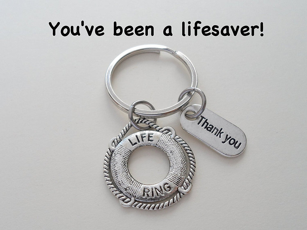 "Volunteer Appreciation Gifts  • ""Thank You"" Tag & Silver Lifesaver Keychain by JewelryEveryday w/ ""You've been a lifesaver!"" Card"