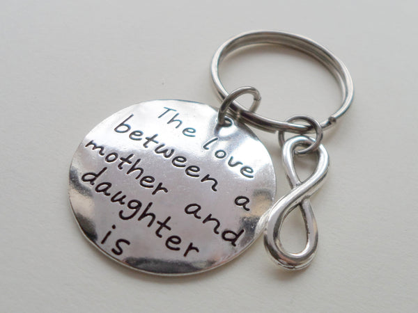 Love Between Mother and Daughter Keychain, Saying with Infinity Charm