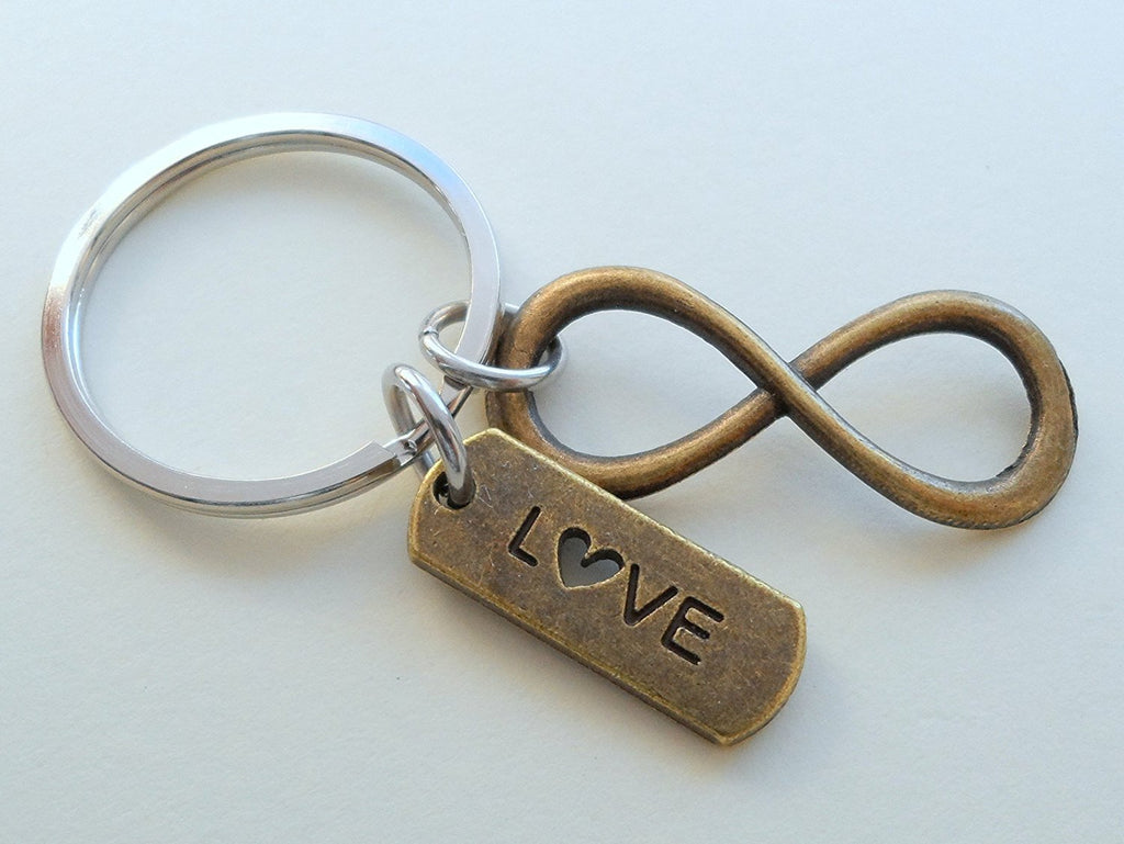 Love Tag with Bronze Infinity Symbol Keychain - You and Me for Infinity; Couples Keychain