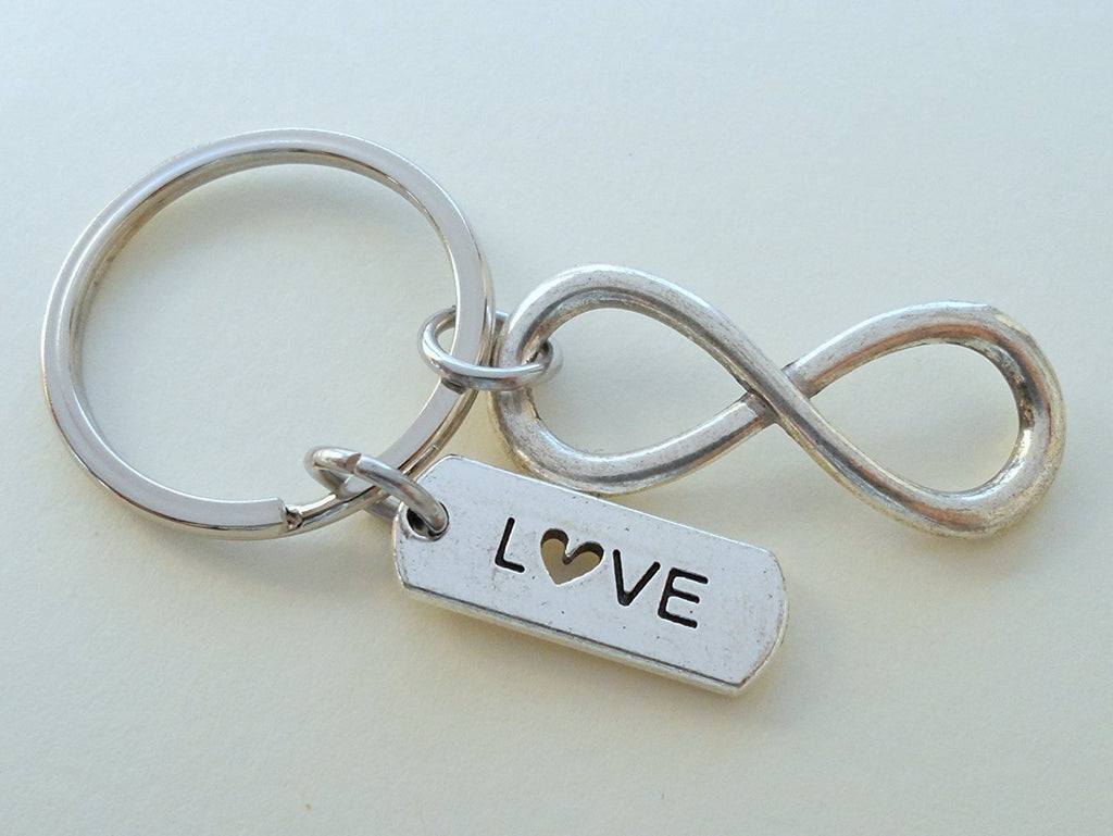 Love Tag with Infinity Symbol Keychain - You and Me for Infinity; Couples Keychain