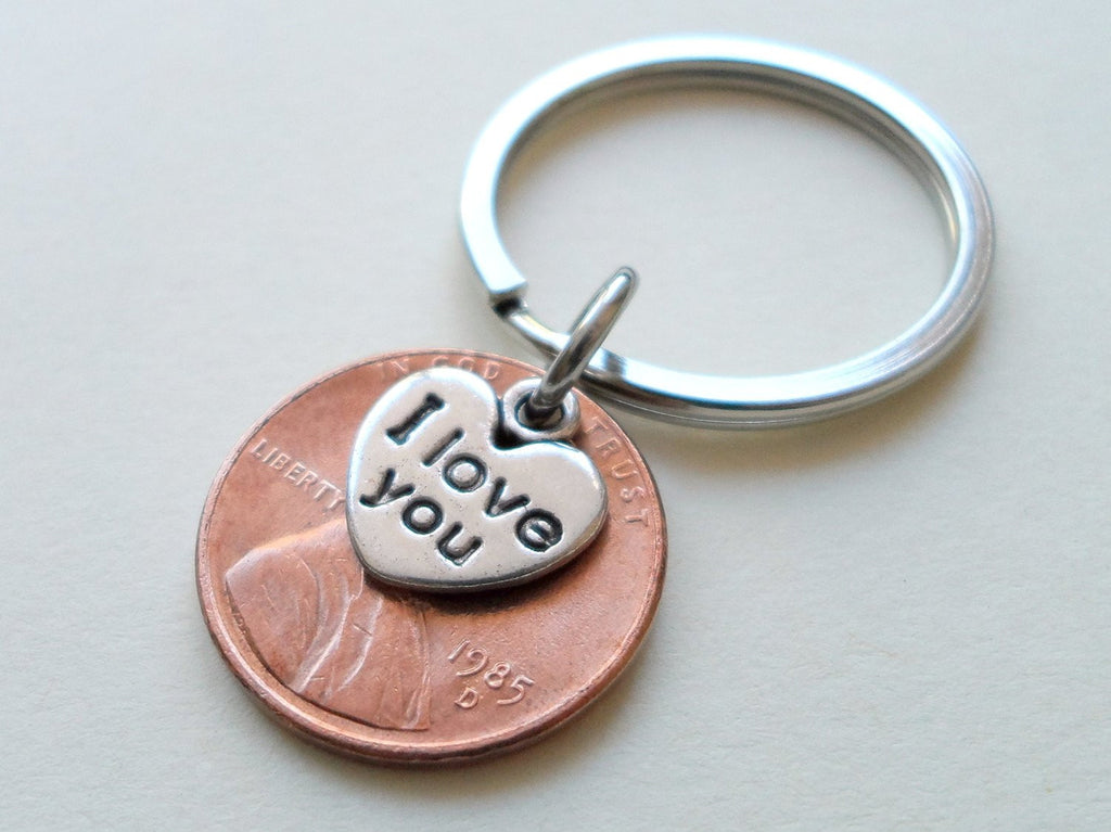 I Love You Heart Charm Layered Over 1985 Penny Keychain; 35 Year Anniversary Gift, Couples Keychain