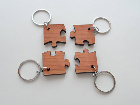 Matching Wood Puzzle Keychains, Set of 4