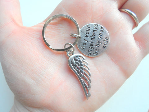 May Your Angel Always Be By Your Side Keychain with Wing Charm