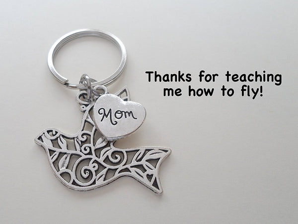 Mom Bird Keychain, Mother's Gift- Thanks for Teaching Me How to Fly