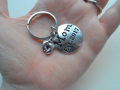 Mom Est. 2017 Disc Keychain with Baby Feet Charm; Mother's Keychain
